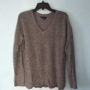 AEO Gray Loose Fit Knit Sweater